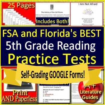 5th Grade FSA Reading Test Prep Practice Set - 2019 Format - Print and  Paperless