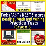 5th Grade FSA Writing, Reading and Math BUNDLE! SELF-GRADING GOOGLE FORM QUIZZES