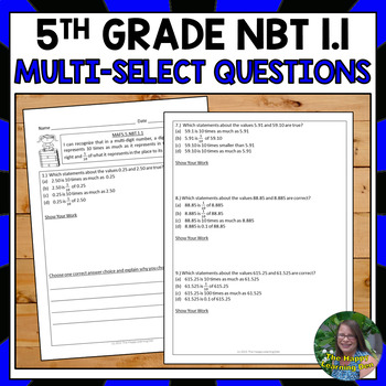 FSA Practice: Multi-Select Questions Numbers and Operations in Base 10 (NBT 1.1)