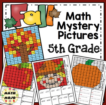 5th Grade Fall Math Mystery Pictures: Fall Color By Number Activities