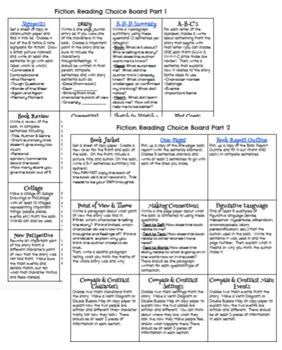 5th Grade Fiction Reading Choice Board