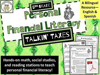 5th Grade Financial Literacy: Taxes--Math, Social Studies,
