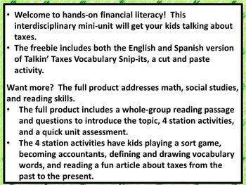 5th Grade Financial Literacy: Taxes Vocabulary (Bilingual, Spanish/English)