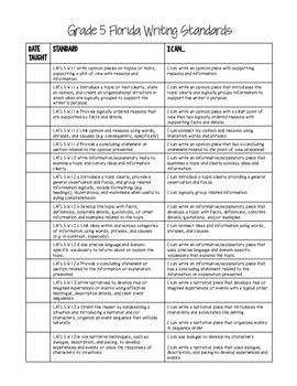 5th Grade Florida Standards & I Can Statements