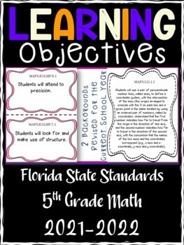 5th Grade Florida Standards Math Learning Objective Cards