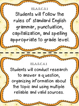 5th Grade Florida Standards Reading/ Writing Learning Objective Cards