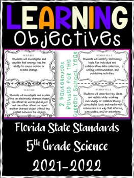 5th Grade Florida Standards Science Learning Objective Cards