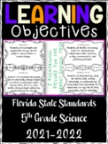 5th Grade Florida Standards Science Learning Objective Cards | Color/ B&W