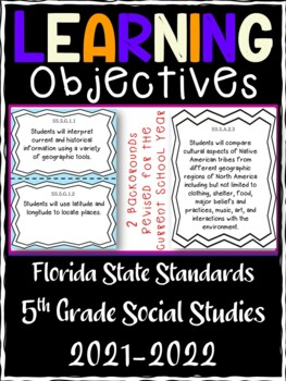 5th Grade Florida Standards Social Studies Learning Objective Cards