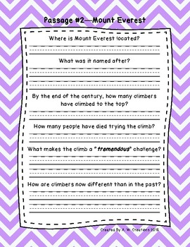 5th Grade Fluency Passages with Comprehension Questions Set A (#1-10)