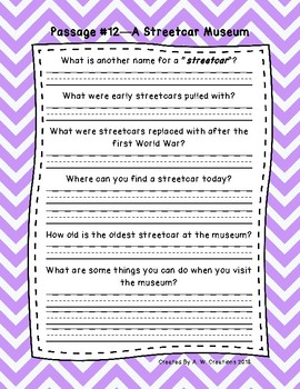 5th Grade Fluency Passages with Comprehension Questions Set B (#11-20)