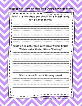 5th Grade Fluency Passages with Comprehension Questions Set C (#21-30)