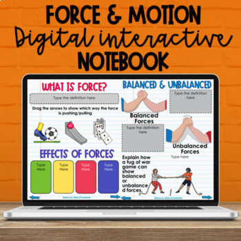 5th Grade Force Motion Digital Interactive Notebook - NC Science Standards 5.P.1
