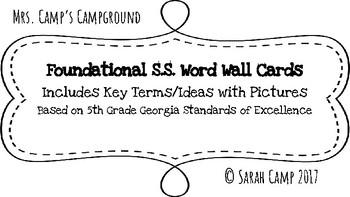 5th Grade Foundational Social Studies Word Wall/Bulletin Board Cards