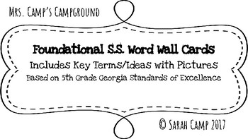 5th Grade Foundational Social Studies Word Wall/Bulletin Board Cards