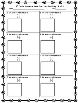 5th Grade Fraction 5.NF.1-4 Common Core Test Prep