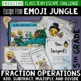 5th Grade Fraction Escape Room Escape from Emoji Jungle