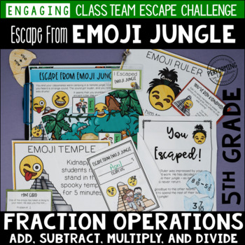 5th Grade Fraction Review Escape Room Escape from Emoji Jungle