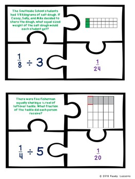5th Grade Fraction Game Puzzles Divide a Unit Fraction by a Whole Number 5.NF.7