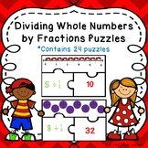 5th Grade Fraction Game Puzzle Divide Whole Number by Fractions Activity 5.NF.7