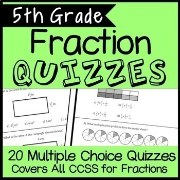 5th Grade Fraction Quiz Bundle, Covers all 5.NF Standards, 20 Total Assessments!
