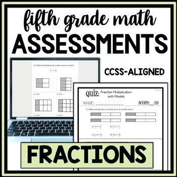 5th Grade Fraction Quiz Bundle, Covers all 5.NF Standards, Assessment Bundle