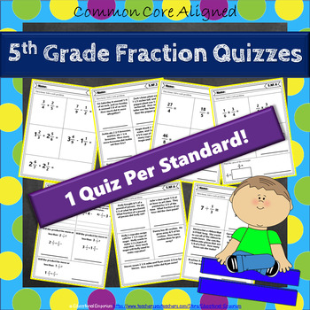 5th Grade Fraction Quizzes: Fractions Quizzes 5th Grade Math Quizzes, No Prep
