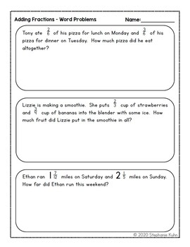5th Grade Fraction Review Worksheets - Distance Learning ...