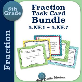 5th Grade Fraction Task Card BUNDLE