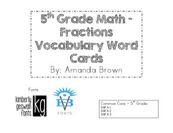 5th Grade Fraction Vocabulary Cards