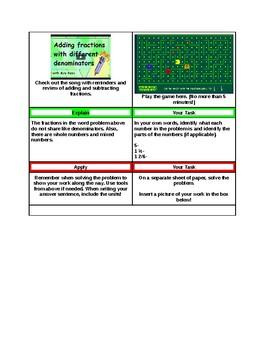 5th Grade Fraction Word Problem Hyperdoc