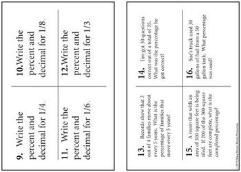 Fractions, Decimals & Percent CHALLENGE - 32 Task Cards & Math Assessments