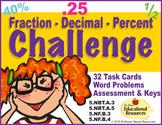 Fractions, Decimals & Percent CHALLENGE - 32 Task Cards &
