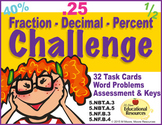 Fractions, Decimals & Percent CHALLENGE - 32 Task Cards &