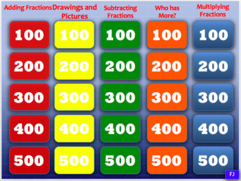 5th Grade Fractions Jeopardy Game (no Division)
