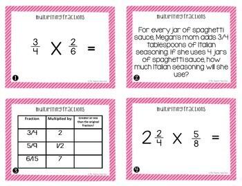 Fractions Task Card Bundle for 5th Grade