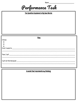 5th Grade Performance Task Organizer Sheets