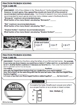 5th Grade Fractions, 30 Enrichment Projects and 30 Test-Prep Problems