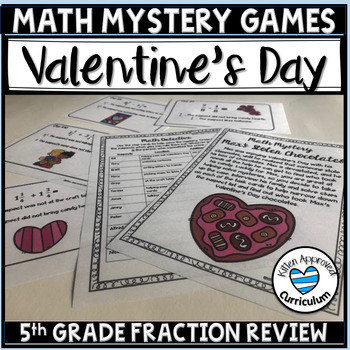 Valentines Day Fractions Activity Math Mystery Game