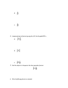 5th Grade Fractions and Decimals Chapter Test