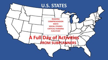 U S States Common Core Aligned Full Day For Your Sub Tpt