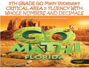 5th Grade GO Math! Vocabulary Cards Chapters 1-5 ONLY