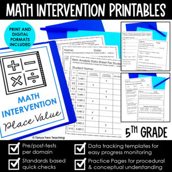5th Grade Growing Math Intervention Bundle BUY NOW AND SAVE! NO PREP RTI