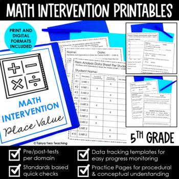 5th Grade Math Intervention Bundle RTI Intervention for Math Intervention Binder