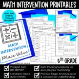 Math Intervention 5th Grade Binder A YEARLONG RTI PROGRAM BUNDLE
