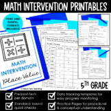 Math Intervention 5th Grade Binder YEARLONG RTI BUNDLE DIS