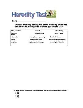 5th Grade Genetics and Heredity Test