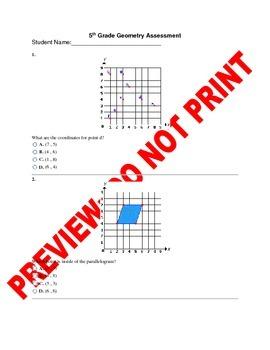 5th Grade Geometry Assessment