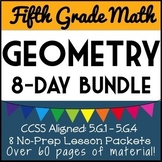 5th Grade Geometry Bundle, 8-Day Unit, Lesson Packets and Quizzes, Over 60 pgs!