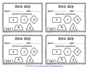 5th Grade Geometry Exit Slips: Geometry Exit Tickets 5th Grade Math Exit Slips
